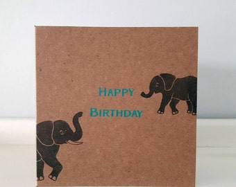 "Happy Birthday Elephant Card. 4"" x 4"" Square Kraft Card."