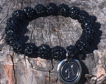 Black Shamballa Bead Bracelet with Initial of your choice