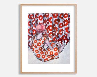 Flower Girl art print, original painting by Lotte Teussink, red and white flower pattern, Scandinavian folk, folk painting, pop surrealism