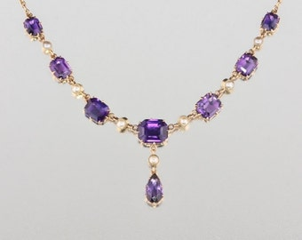 Edwardian 12.27 Ct natural royal amethyst and pearl sophisticated necklace