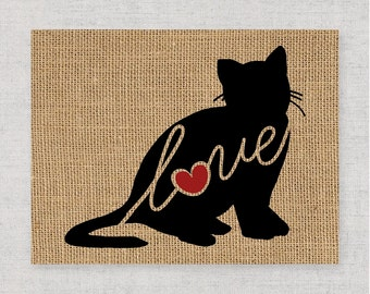 British Shorthair Cat Love - Burlap or Canvas / Wall Art Print for Cat Lovers: Can be Personalized (Ships Free) Script Font Option