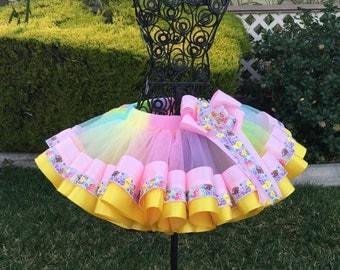 Happy Easter Ribbon Tutu, Spring Ribbon Tutu, Sewn Ribbon Trimmed Tutu, Girls Tutu Dress, Tutu Skirt, Tutu For Girls Party/Birthday/Photo