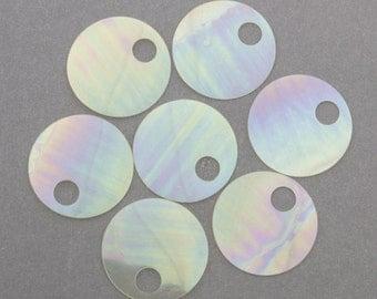 20mm CLEAR IRIS Flat Round 5mm Hole Vintage Sequins Pillettes 50pcs 80301001