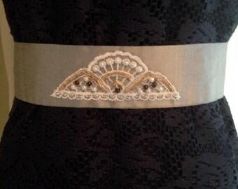Silver Silk Lace Embellished Sash