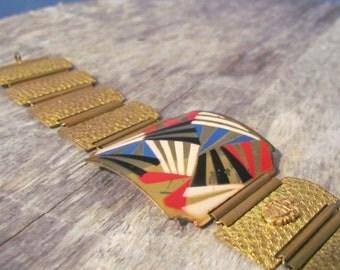 Vintage 1930's Art Deco Enameled Metal Bracelet