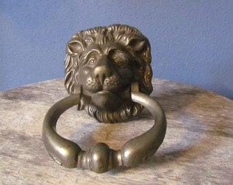Vintage Ornate Cast Brass Lion Head Door Knocker