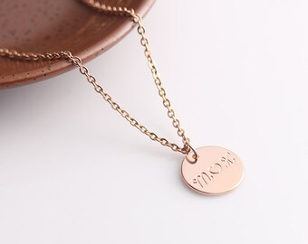 Initial Necklace Disc Jewelry, Rose Gold Name Disc Necklace with Heart, Mother Daughter Gold Disc Necklace