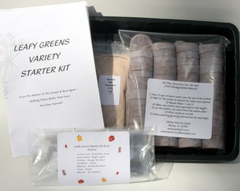 Leafy Greens Garden Pellet Starter Kit  7 Types of Seeds for a variety of Leafy Greens!
