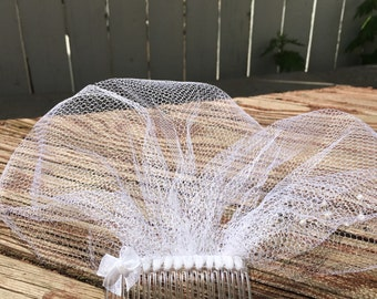 Birdcage veil - simple wedding veil - blusher veil - veil with pearls - bridal hair accessory - short bridal veil - 9 inch veil - white