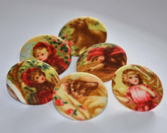 Fabric Buttons - Red Riding Hood Fabric Covered Buttons