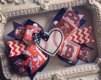 Boston Red Sox Hair Bow or Bow & Headband Set with Baseball Heart Feltie Center