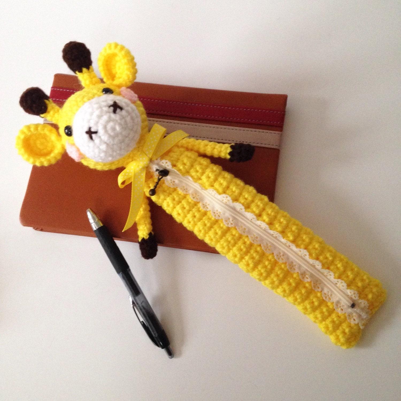 Amigurumi Bunny Pencil Holder : Amigurumi giraffe crochet bag pencil case cosmetic