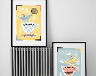 Set of 2 Giclee Modern Kitchen Art Prints, Mid Century Inspired Giclee Prints, Lovebirds & Teacups