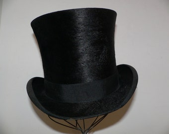 Victorian Edwardian Beaver Top Hat by Horsfall & Rothschild of Hartford Conn