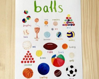 Balls A4 Print - Hand illustrated funny circus games print