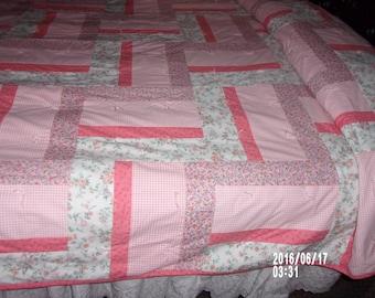 PeachesAndCream, hand-made, hand-tied full/queen cotton quilt