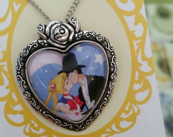Sailor Moon and Tuxedo Mask kiss! Pop art, vintage, comic book, kiss, romantic necklace