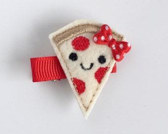 Pizza clip, pizza clippie, pepperoni pizza hair clip, pizza party, felt hair clip