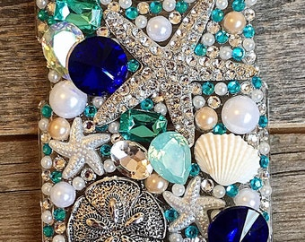 Starfish and Sand dollar Ocean bling iphone case, iPhone bling case, Birthday gift, Mother's Day gift