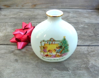 Vintage Moppets Vase, Collectible Fran Mar Moppets Christmas Vase, 1970s