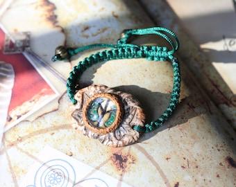 Bracelet amulet of Algiz Rune under glass