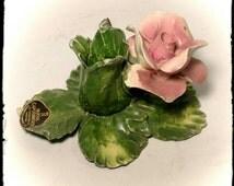 Vintage Nuova Capodimonte Single Rose Porcelain Candle Holder - Wishing Well / Centerpiece Candle Holder / Elegant Dining/ Gift Idea / F1269