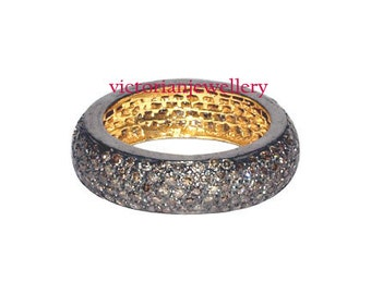 Victroian style pave 1.35 ct single cut diamond party/wedding band/ring 925 silver 14 kt gold plated free shipping.