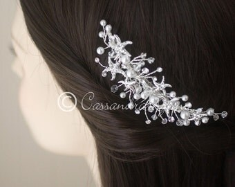 Beach Wedding Bridal Hair Comb Starfish White Pearls Silver Crystal Beads Clip Accessories Bride Headpiece