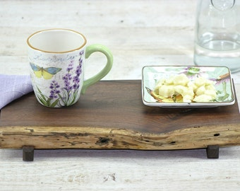 Reclaimed Spalted Black Walnut Footed Serving Tray Live Edge Cutting Board Rustic Centerpiece Fruit Display