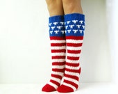 US Flag Stars & Stripes USA Patriot Knee High Handmade Socks Wool socks Warm winter socks.