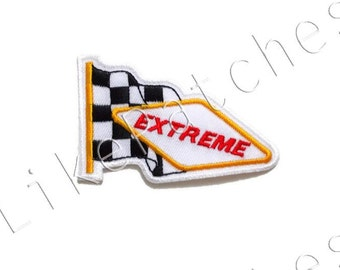 Checkered Flag Extreme - Sport Flag - Racing Flag New Sew / Iron On Patch Embroidered Applique Size 7.8cm.x5cm.