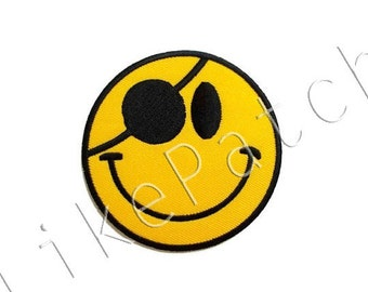 Pirate Yellow Smiley Face New Sew / Iron On Patch Embroidered Applique Size 8cm.x8cm.