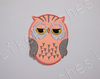 Owl Patch - Orange Pastel Super Cute Owl New Sew on / Iron On Patch Embroidered Applique Size 5.1cm.x6.6cm.