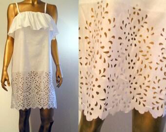 White cut lace ruffle mini dress XS