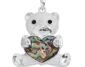Abalone Shell, Austrian Crystal Teddy Bear Pendant Without Chain Silver-Tone