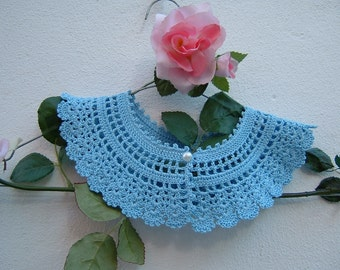 Cotton crochet collar blue-collar retro chic Victorian-Crochet fashion women-vintage Look feminine and romantic shawl collar