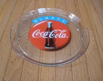 1994 collector's COCA COLA Glass Serving Tray - Coke Button - NIB - Collectible - Advertising