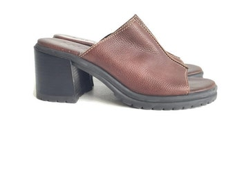 90's Chunky Platform Brown Leather Slides Sandals sz 9.5