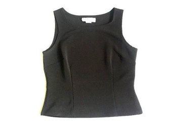 Black Fitted High Neck Sleeveless Blouse Top