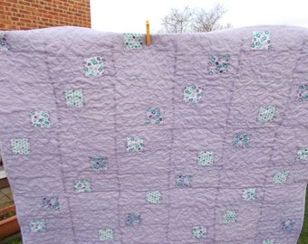 Patchwork quilt, girls quilt, single bed toppr,or  lap quilt. Geometrical patchwork design, violet, green, white. Ready to ship, free P&P