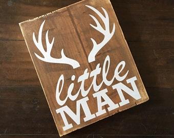 Little Man Antler Wood Sign