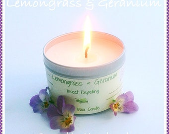 Lemongrass and Geranium soy wax insect repelling candle, mosquito repellent, fragrant, Eco friendly, burns for up to fifteen hours.
