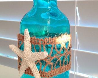 COASTAL CHIC turquoise/aqua glass bottle/vase-white starfish-hessian lace trim - new