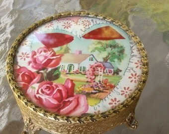 1930's - 1940's Vintage Trinket Box With Lovely Color and Endearing Greeting! Next Day Free Shipping USA!