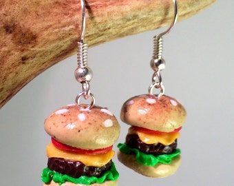Handmade Polymer Clay Burger Earrings