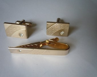 1950s-60s Gold Shields Cuff Links with Tie Bar