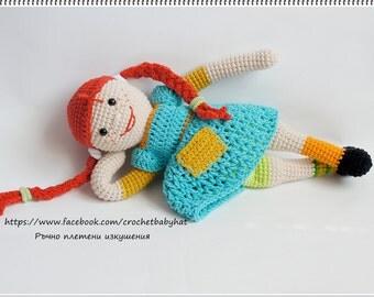 Handmade doll, Pippi longstocking, Handmade Pippi doll ,Pippi Longstockings Corchet Doll, plush soft doll, Astrid Lindgren's character