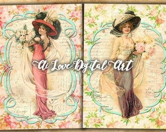 Digital collage sheet, instant download, shabby chic Vintage Ladies, digital printable images, greeting cards, scrapbooking vintage ephemera