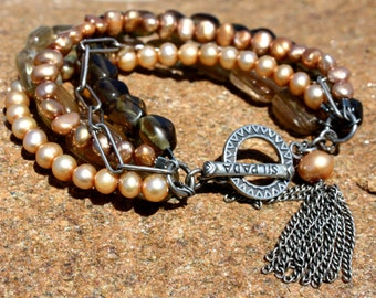 Silpada BRACELET Smoky Quartz Pearls Sunstone Sterling Silver 5 Strand Vintage