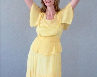 1930s Yellow Flutter Sleeve Dress